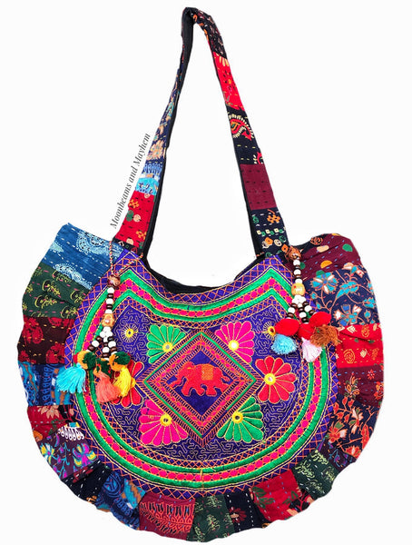 SHOW STOPPER INDIAN ELEPHANT BOHEMIAN FESTIVAL BAG / HANDBAG - MoonbeamsandMayhem