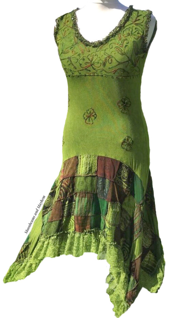 ENCHANTING FOREST GREEN BOHEMIAN SLEEVELESS DRESS UK SIZE 12 /14 - MoonbeamsandMayhem