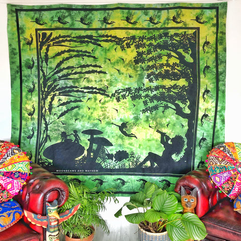 ENCHANTING FOREST GREEN FAIRY THROW / TAPESTRY
