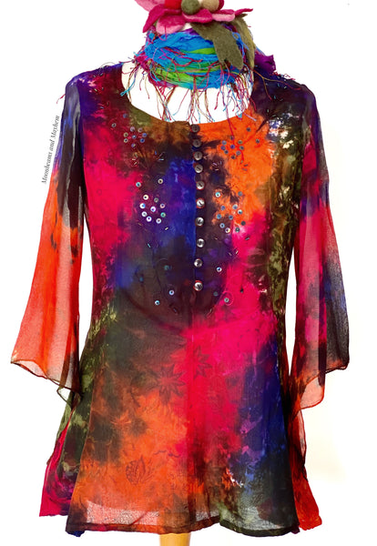 TRULY STUNNING TIE DYE BLOUSE / TOP SIZE SMALL - MoonbeamsandMayhem