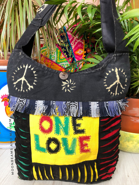 WONDERFUL ONE LOVE HIPPIE TOTE / BAG - MoonbeamsandMayhem
