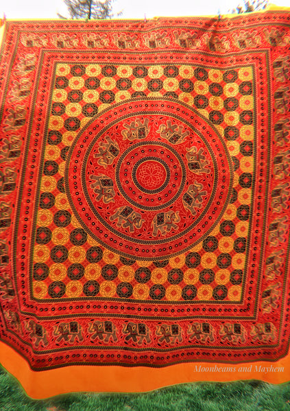 DELICIOUS ELEPHANT MANDALA WALL HANGING / TAPESTRY / THROW - MoonbeamsandMayhem