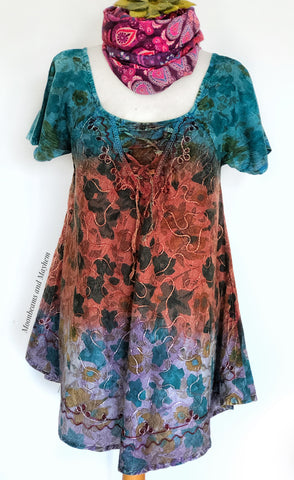 ELEGANT SUNDANCE SHORT SLEEVED BLOUSE / TOP / SIZE MED - MoonbeamsandMayhem
