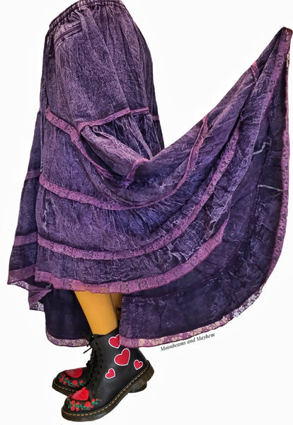 STRIKING PURPLE COTTON QUEENIE SKIRT ( M / L ) - MoonbeamsandMayhem