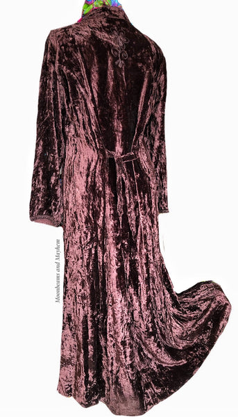 EXQUISITE LONG CHESTNUT BROWN VELVET 'ANYA' DRESS UK SIZE 14 ( US SIZE 12 ) - MoonbeamsandMayhem