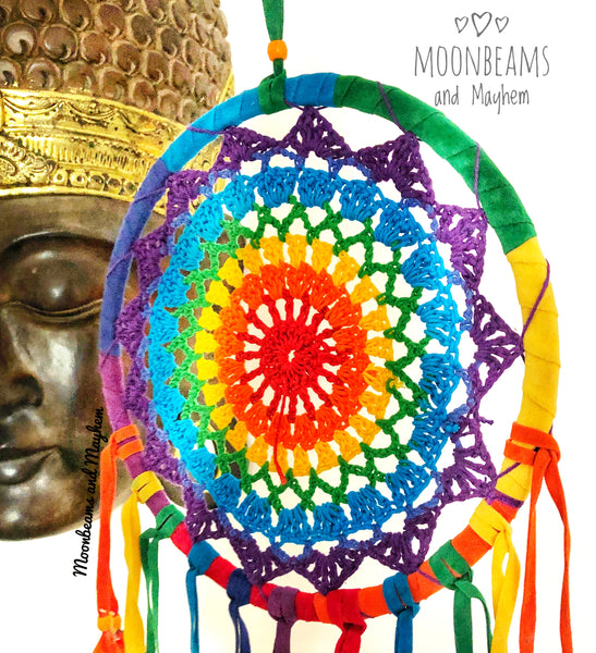 TRULY DELICIOUS LARGE RAINBOW FEATHER CROCHET DREAM CATCHER - MoonbeamsandMayhem