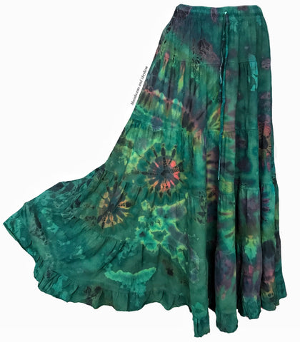 WONDERFUL FOREST GREEN TIE DYE SKIRT REG - PLUS SIZE - MoonbeamsandMayhem