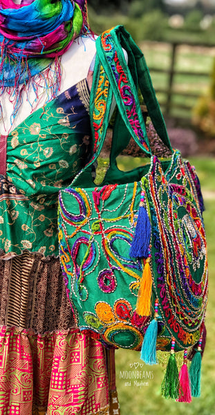 ENCHANTING GREEN 'SHAMBALA' TASSELED TOTE / BAG - MoonbeamsandMayhem