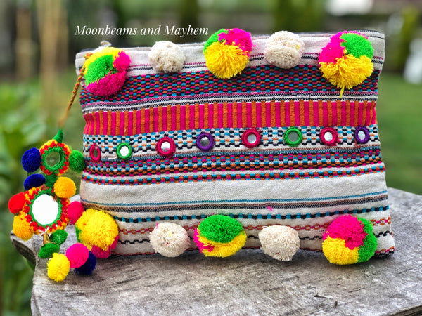 BEAUTIFUL SOPHIA POM POM CLUTCH / EVENING / MAKE UP BAG - MoonbeamsandMayhem