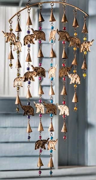 FABULOUS LARGE ELEPHANT, BEADS AND BELLS MOBILE CHIMES - MoonbeamsandMayhem