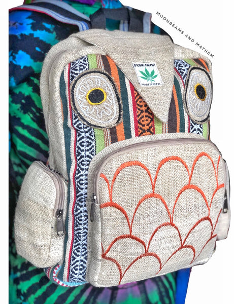 WONDERFUL OWL HEMP BACKPACK / RUCKSACK - MoonbeamsandMayhem