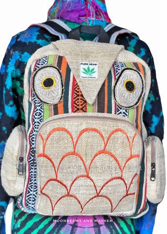 WONDERFUL OWL HEMP BACKPACK / RUCKSACK
