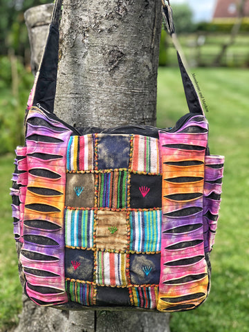 LARGE STONE WASHED BLACK COTTON TOTE / SHOULDER BAG - MoonbeamsandMayhem