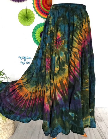 DELICIOUS DEEP GREEN TIE DYE LONG SKIRT - Reg / Plus