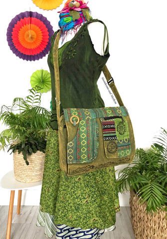ENCHANTING GREEN HIPPIE CANVAS 'MANTRA' SHOULDER BAG / SATCHEL