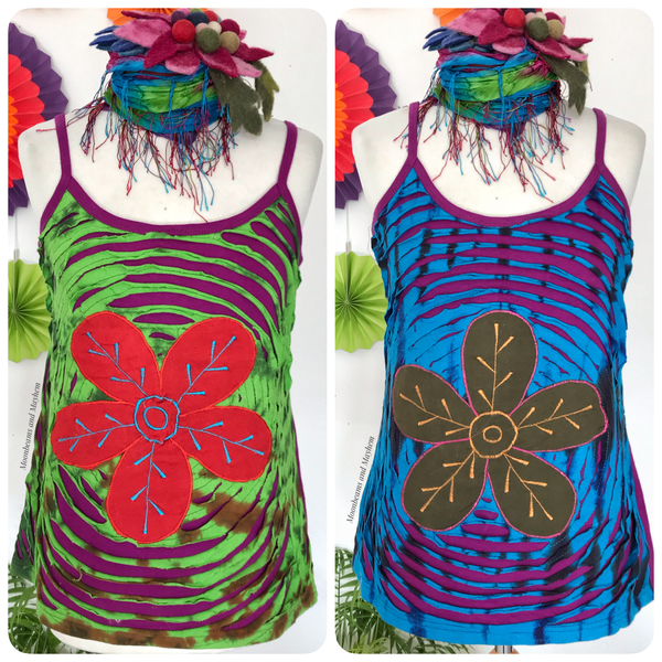 PURPLE COTTON FLOWER BURST VEST