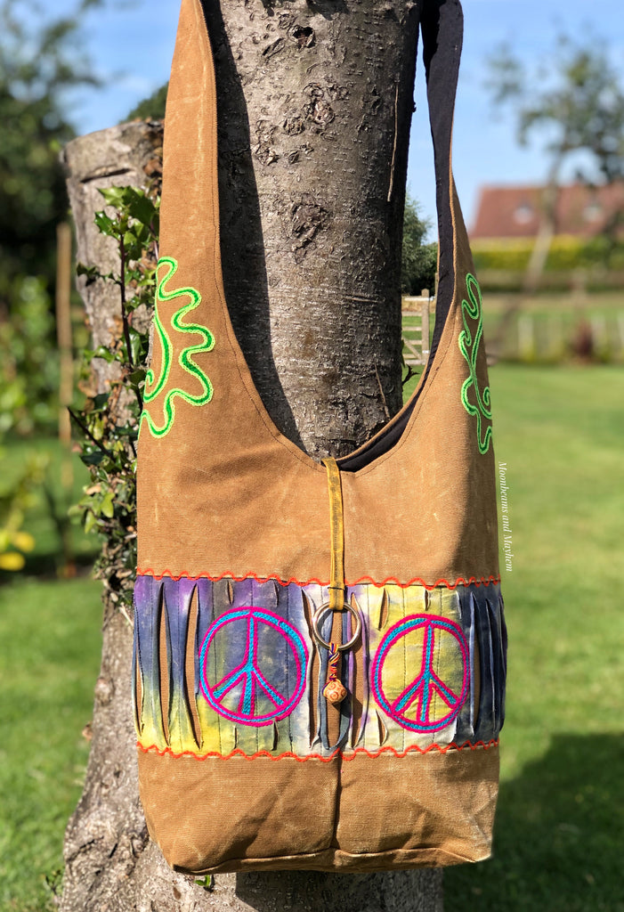 EARTHY 'DESERT SANDS' HIPPIE PEACE BAG - MoonbeamsandMayhem