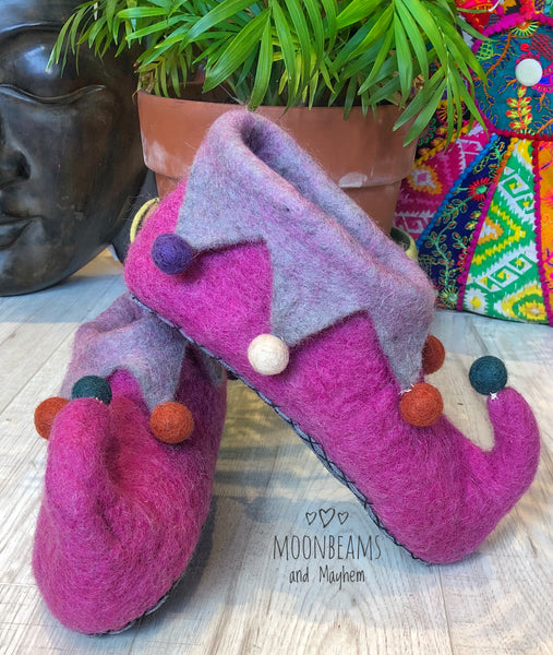MOONBEAMS ADULT FELTED ELF SLIPPERS - MoonbeamsandMayhem