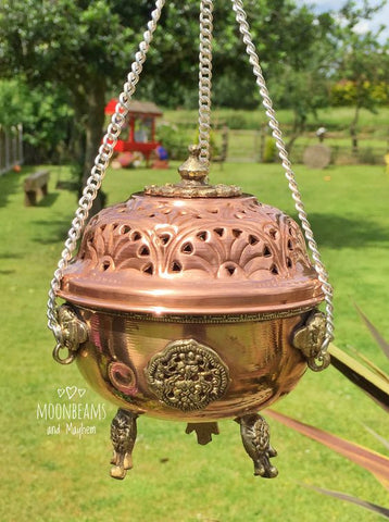 DIVINE LARGE INDIAN BRASS HANGING INCENSE / CHARCOAL BURNER - MoonbeamsandMayhem