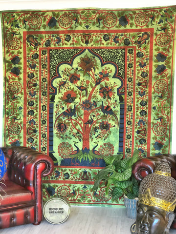 ENCHANTING NEW GREEN TREE OF LIFE WALL HANGING TAPESTRY THROW - MoonbeamsandMayhem