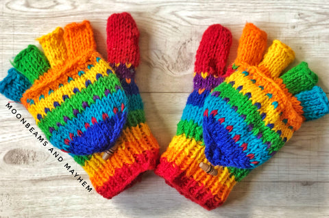 FABULOUS FLEECE LINED RAINBOW SNUGGLE GLOVES / MITTENS - MoonbeamsandMayhem