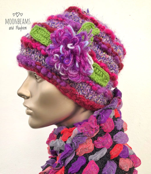 STRIKING PURPLE 'LAVENDER LUST' WINTER BEANIE HAT - MoonbeamsandMayhem