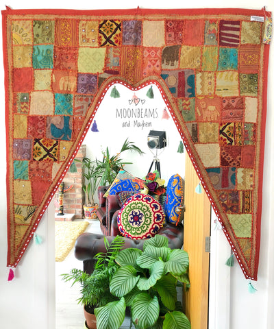EXQUISITE LARGE INDIAN EARTHY SPICE BOHEMIAN / HIPPIE DOOR TORAN - MoonbeamsandMayhem