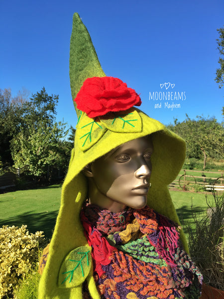 ✧✼ UNIQUE & QUIRKY GREEN FELTED PIXIE HOOD / HAT  ✧✼✧