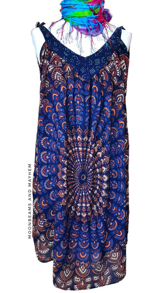 STRIKING BLUE BOHEMIAN  'MOONDANCE' TUNIC - SIZES M / L / XL - MoonbeamsandMayhem