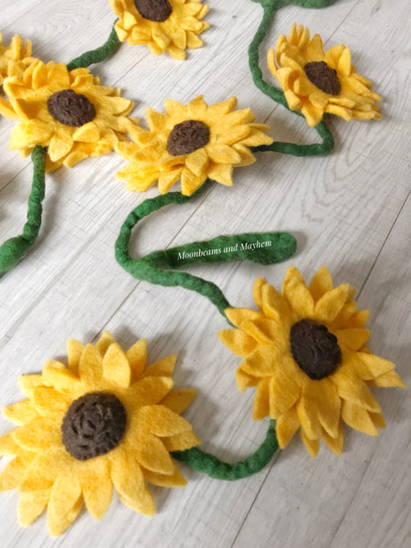 ENCHANTING FELTED SUNFLOWER STRAND - MoonbeamsandMayhem