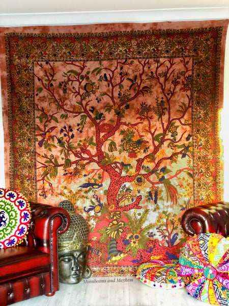 DELICIOUS EARTHY TREE OF LIFE WALL HANGING TAPESTRY THROW - MoonbeamsandMayhem
