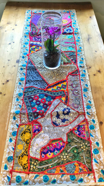 EXQUISITE INDIAN TABLE RUNNER / WALL HANGING - MoonbeamsandMayhem