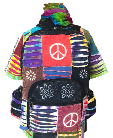 FABULOUS BLACK HIPPIE PATCHWORK BACKPACK / RUCKSACK / TRAVEL BAG - MoonbeamsandMayhem