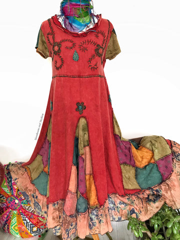 STRIKING RUSSET RED BOHEMIAN HIPPIE DRESS UK 16 / 18