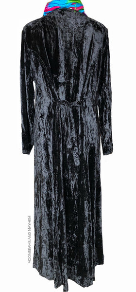 EXQUISITE LONG BLACK VELVET 'ANYA' DRESS UK SIZE 14 ( US SIZE 12 ) - MoonbeamsandMayhem