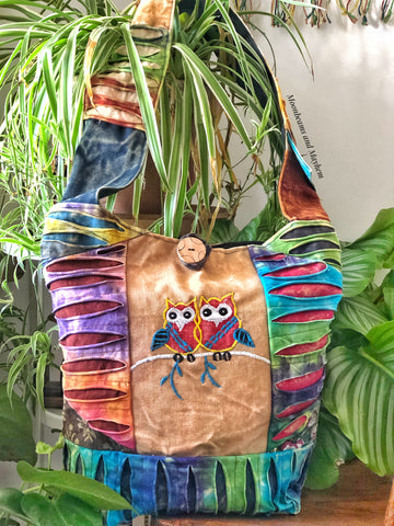 ENCHANTING LARGE COTTON EARTHY OWL TOTE / BAG