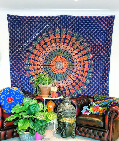 DIVINE NEW BLUE MANDALA DOUBLE THROW WALL HANGING TAPESTRY - MoonbeamsandMayhem