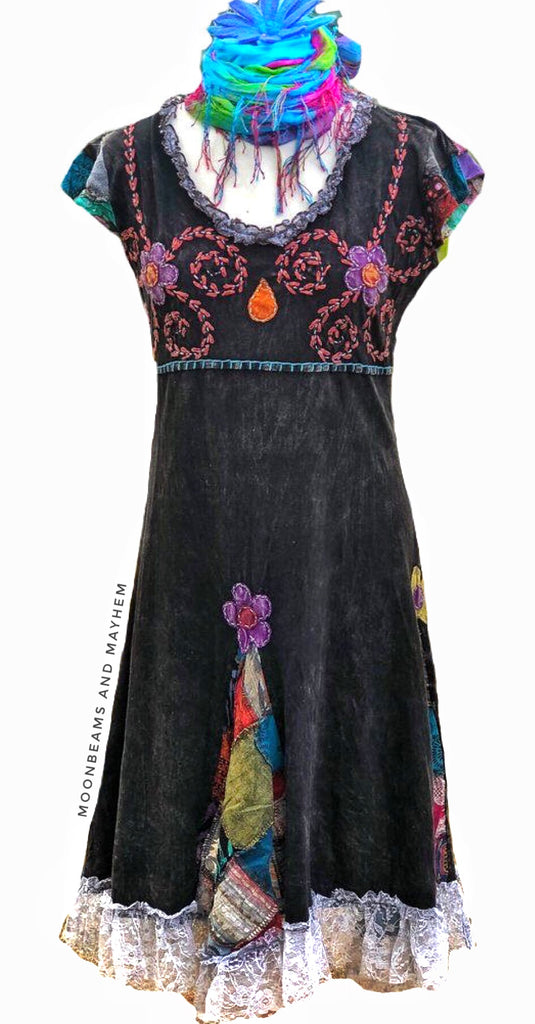 STUNNING 'MIDNIGHT VIBES' COTTON BOHEMIAN DRESS - MoonbeamsandMayhem
