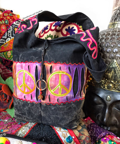 MOONLIT BLACK HIPPIE PEACE TOTE / BAG