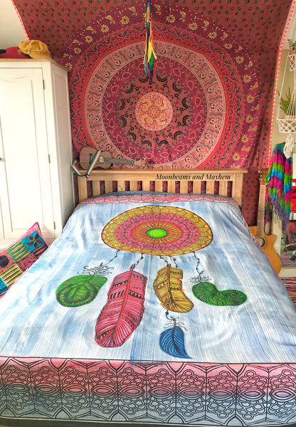 STRIKING DOUBLE DREAM CATCHER WALL HANGING / TAPESTRY / THROW - MoonbeamsandMayhem