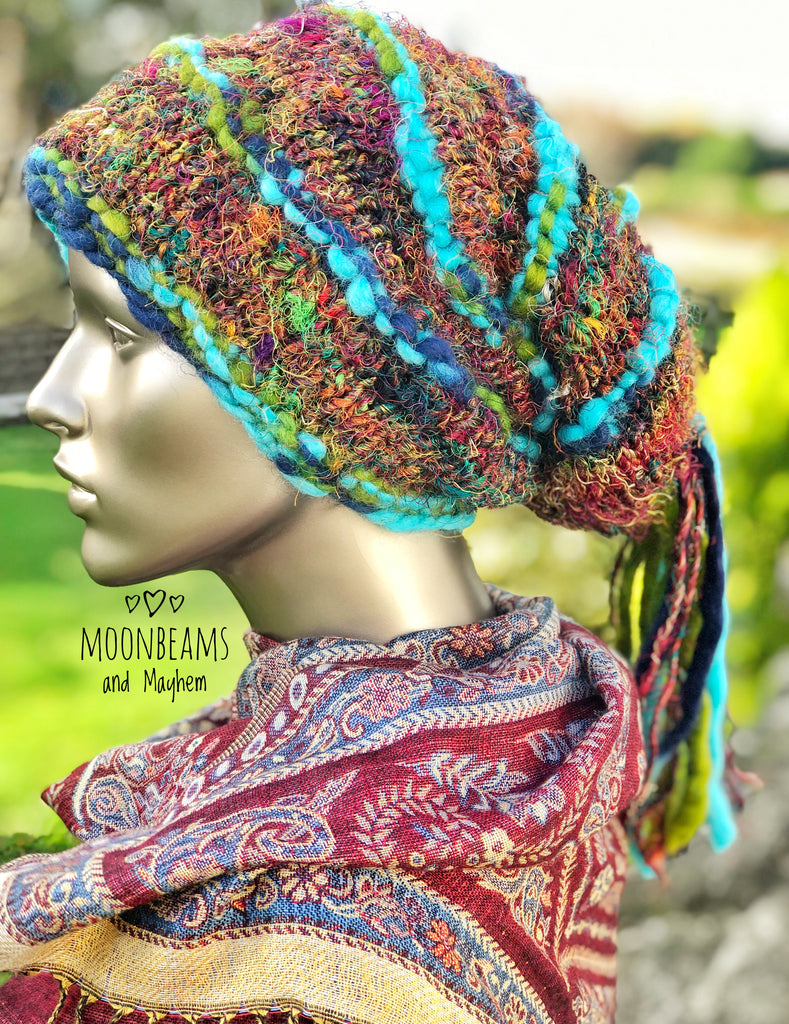 QUIRKY TURQUOISE 'MARLEY' DREAD FALL BEANIE - MoonbeamsandMayhem