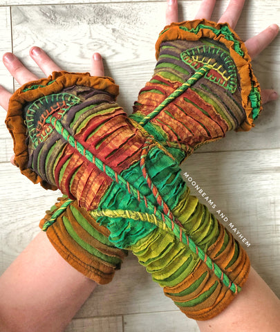 MAGICAL 'FIELDS OF GREEN' MUSHROOM WRISTLETS / GLOVES - MoonbeamsandMayhem