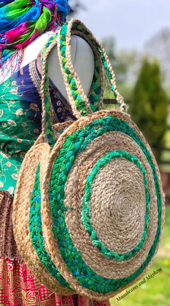 MARVELLOUS 'SANDY DAZE' WOVEN JUTE TOTE / SHOULDER BAG - MoonbeamsandMayhem