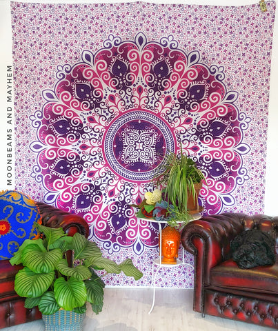 DIVINE NEW PURPLE MANDALA DOUBLE THROW WALL HANGING TAPESTRY - MoonbeamsandMayhem