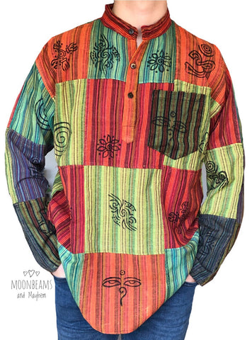MENS HIPPIE PATCHWORK SHIRT L / XL - MoonbeamsandMayhem
