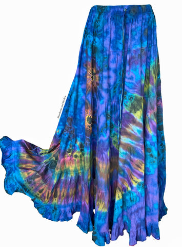 WONDERFUL BLUE TIE DYE SKIRT - PLUS SIZE - MoonbeamsandMayhem