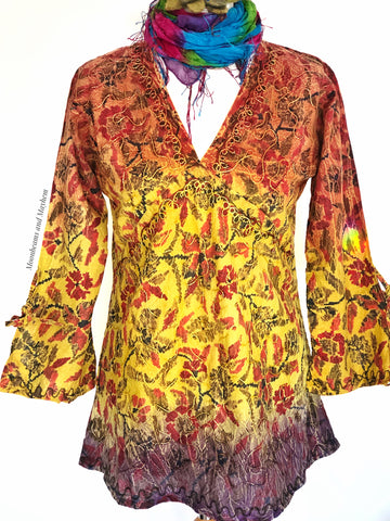 FLATTERING BOHEMIAN SUNDANCE BLOUSE / TOP SIZE UK 12 - MoonbeamsandMayhem