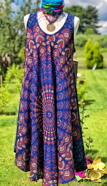 WONDERFUL STARSHINE PERSIAN BLUE TUNIC / DRESS SIZE L / XL - MoonbeamsandMayhem