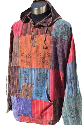 MENS HIPPIE PATCHWORK HOODED SHIRT XL / 48'' - MoonbeamsandMayhem