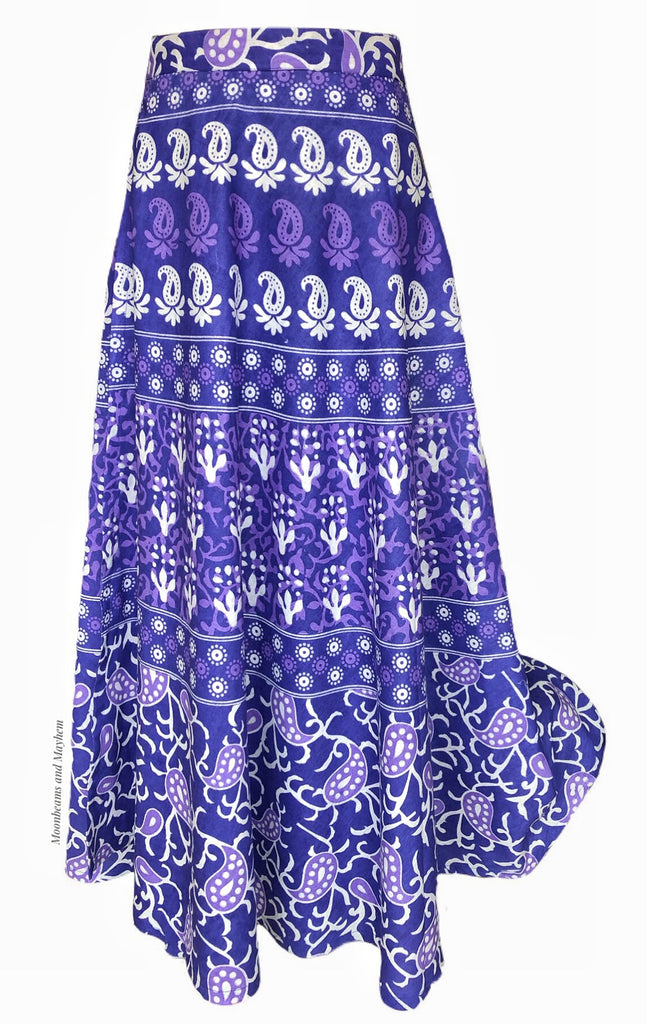 STRIKING PURPLE WRAPAROUND COTTON SKIRT - MoonbeamsandMayhem